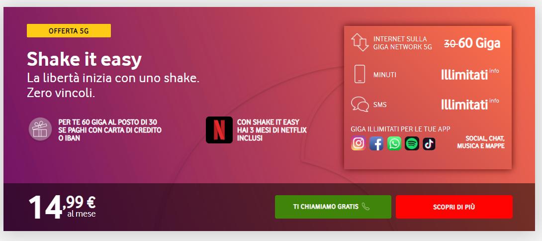 plano de dados Vodafone Italia