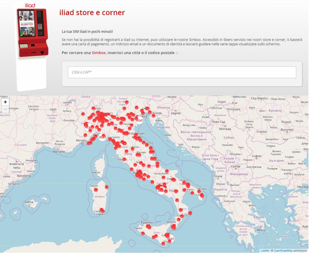 mapa de lojas da Iliad pela Itália